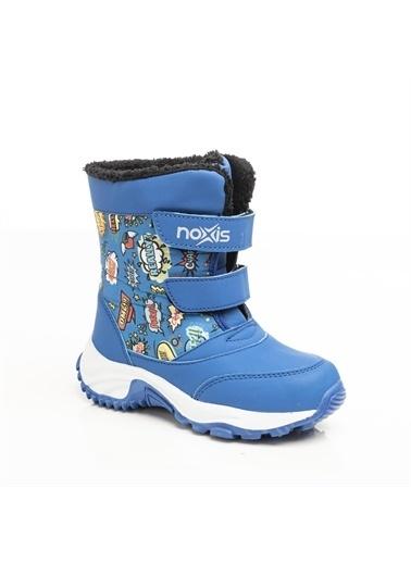 Noxis Noxis Pop-art Unisex Çocuk Kışlık İçi Kürklü Kar Botu Mavi